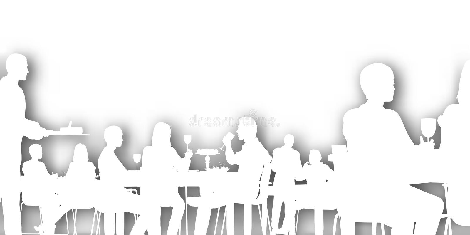 Cutout dining. Editable cutout of people dining in a restaurant with background shadow made using a gradient mesh vector illustration