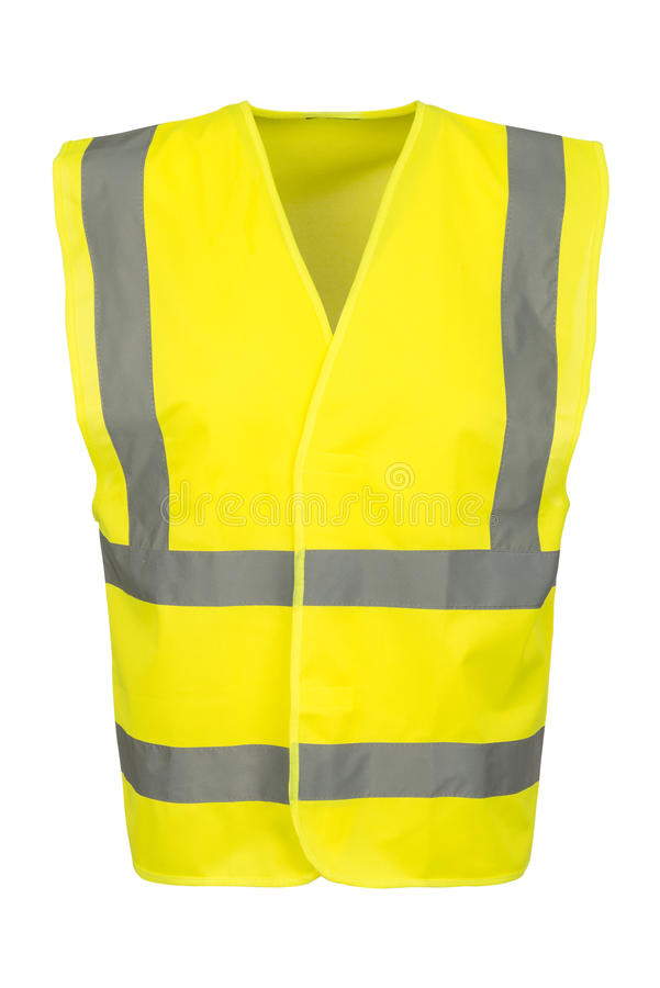 Cutout of Front of Yellow Safety Vest. Cutout of a yellow safety vest viewed at the front royalty free stock photo