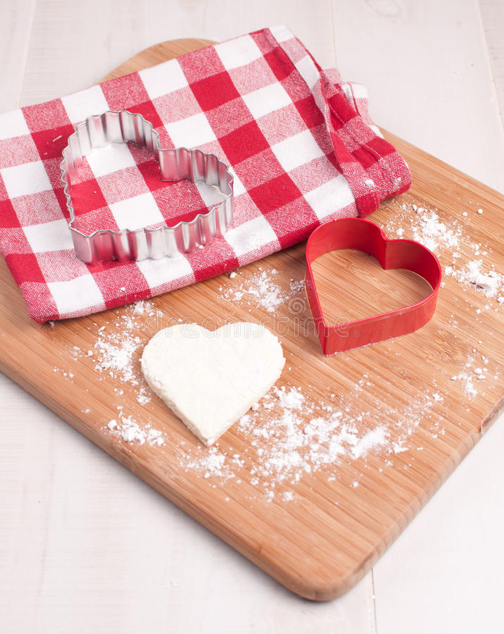 Download Cutout Heart Cookie From Dough Stock Image - Image: 28274665