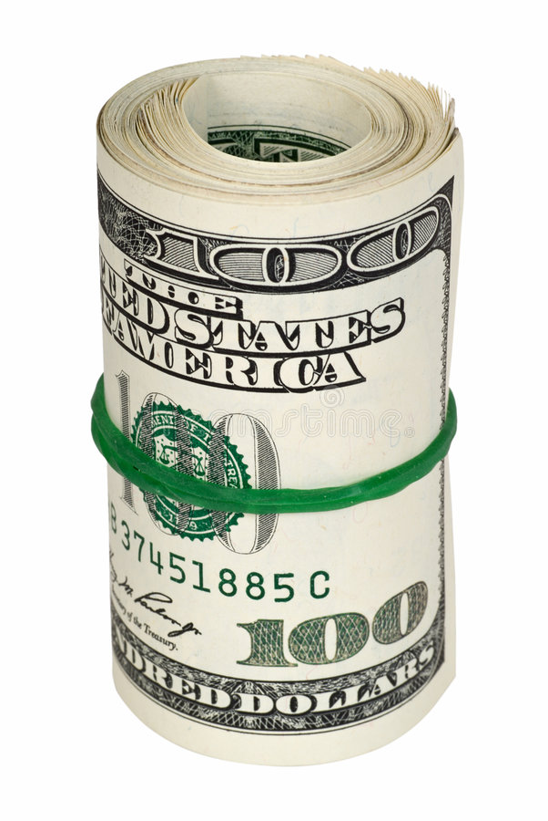 cutout money rolled arkivbild