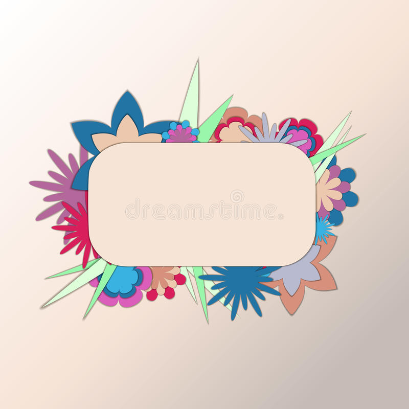 Cutout paper frame with flowers royalty free stock photo