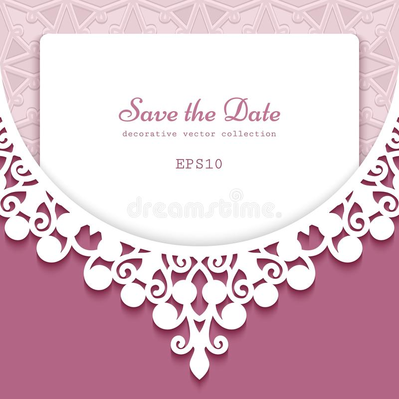 Cutout paper frame with lace border ornament stock illustration