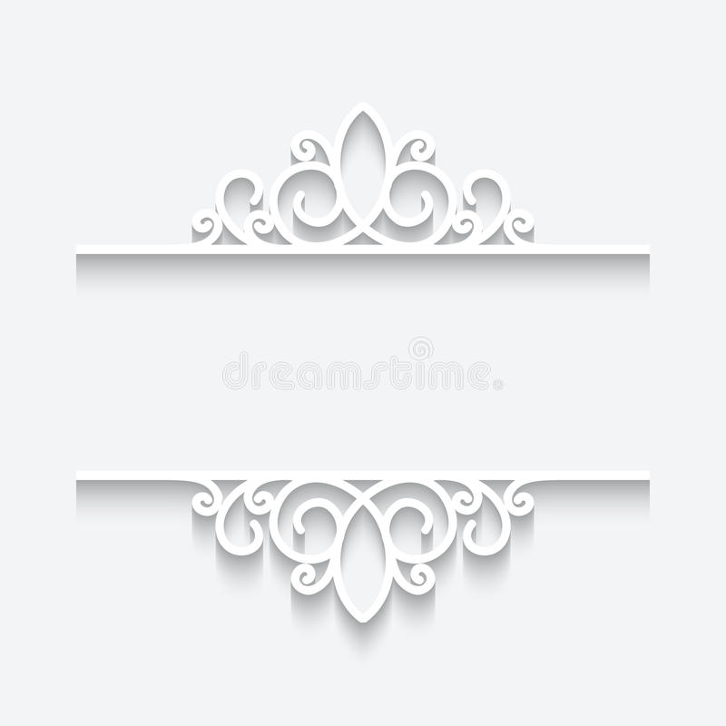 Cutout paper frame. Ornamental divider on white background royalty free illustration