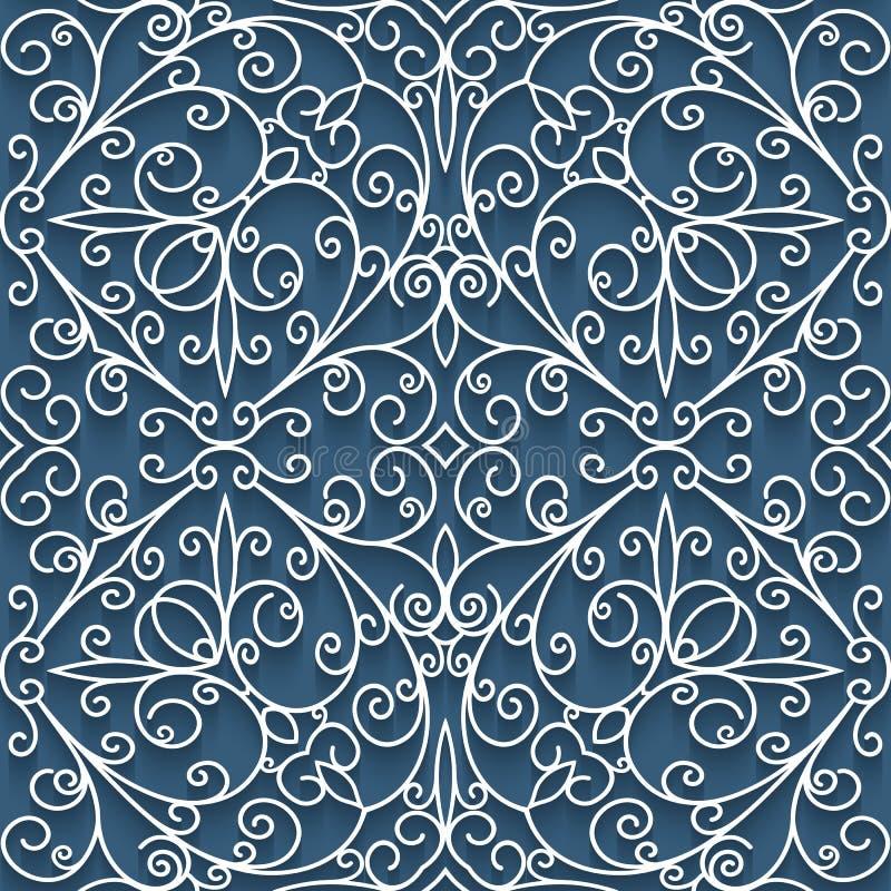 Cutout paper lace texture, seamless pattern. Abstract cutout paper ornament, lace texture, tulle seamless pattern stock illustration