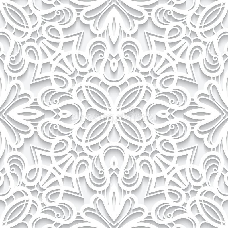 Cutout paper lace texture, seamless pattern. Cutout paper ornament, white lace texture, seamless lace pattern stock illustration