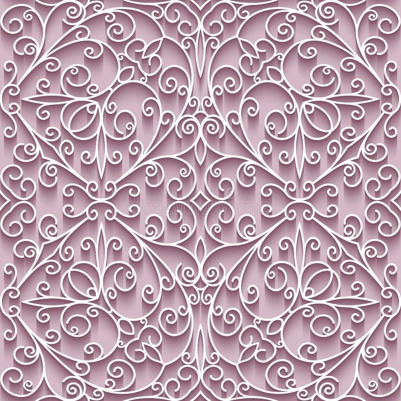 Cutout paper lace texture, seamless pattern. Cutout paper lace texture, tulle background, swirly seamless pattern stock illustration