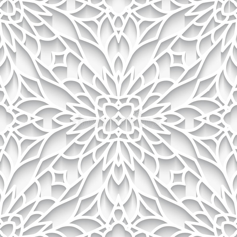 Cutout paper lace texture, seamless pattern. White paper lace texture, lacy background in neutral color, seamless pattern stock illustration