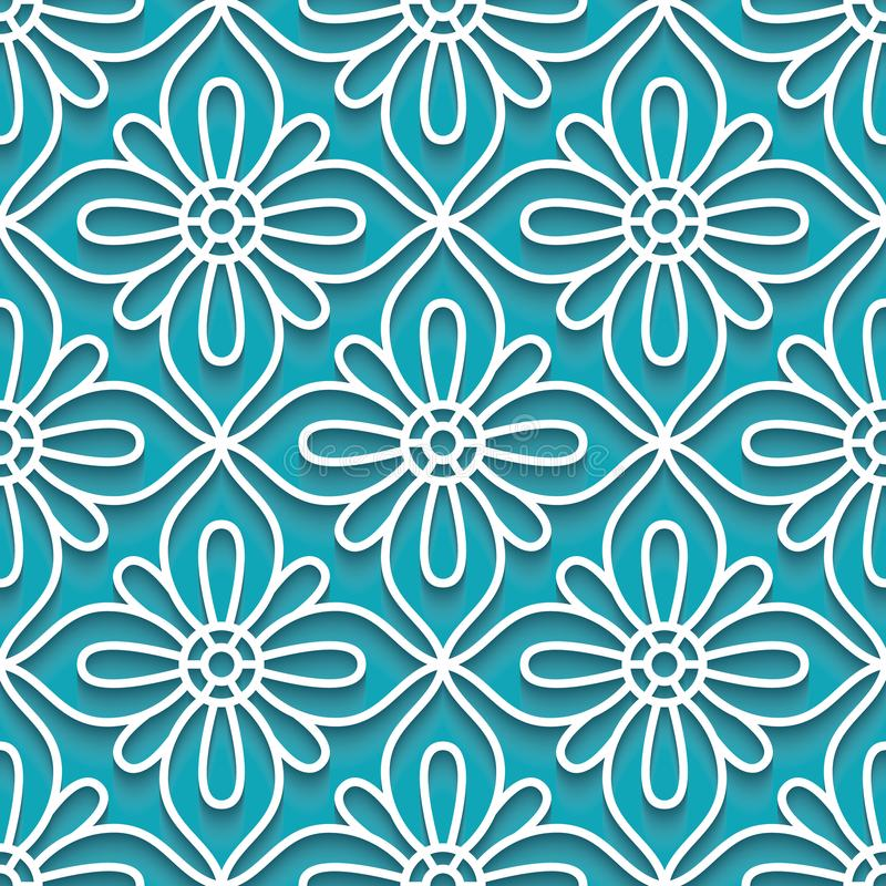 Cutout paper pattern, lace texture. Cutout paper ornament, lace texture, tulle seamless pattern on turquoise, background stock illustration