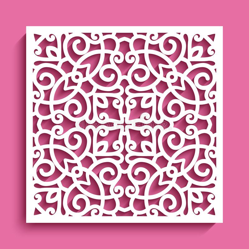 Free Cutout Paper Panel With Square Lace Pattern Royalty Free Stock Image - 122442116
