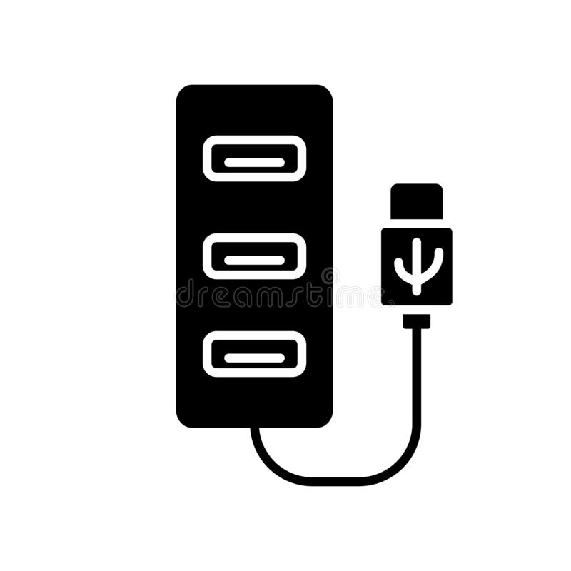 Free Cutout Silhouette Usb Hub Icon. Outline Logo Of Computer Port. Black Simple Illustration Of Multiport Adapter For Connecting Stock Photo - 178985990