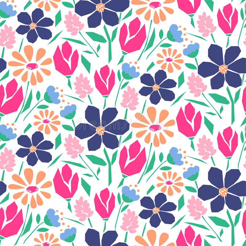 Cutout style flowers seamless vector pattern. Artistic florals and plants fabric textile print pink purple background stock illustration