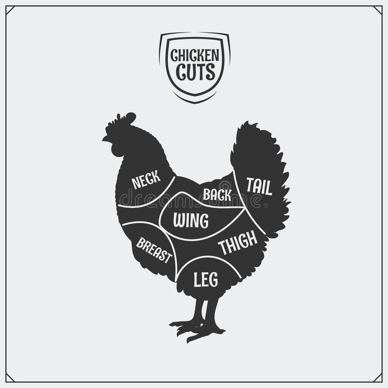 cuts of chicken meat  silhouette of chicken  chicken label  stock vector