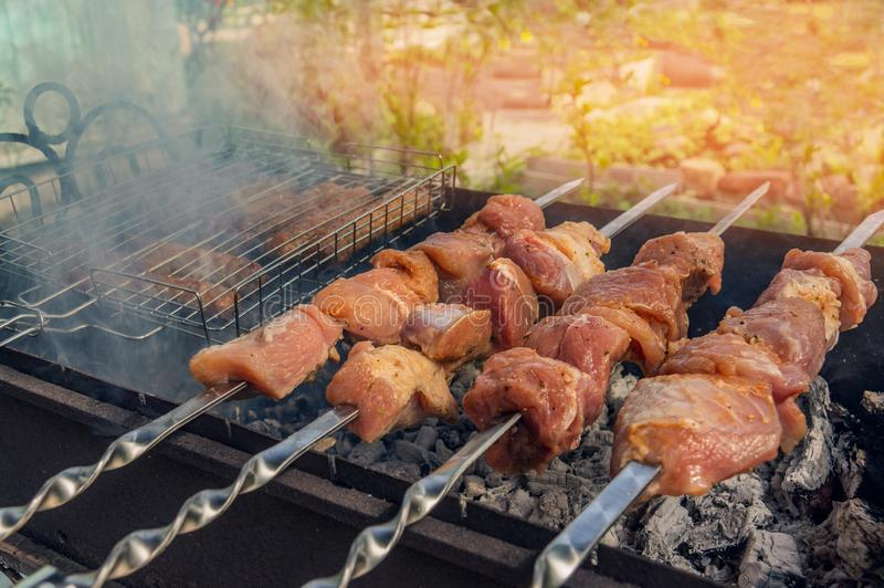 Cuts of meat roasted on skewers over an open fire. Summer barbecue. Shashlik is a national Caucasian dish royalty free stock photo