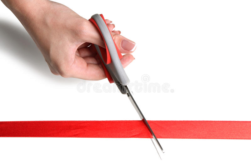 Cuts red ribbon. Girl cuts red ribbon with scissors isolated on white background royalty free stock images