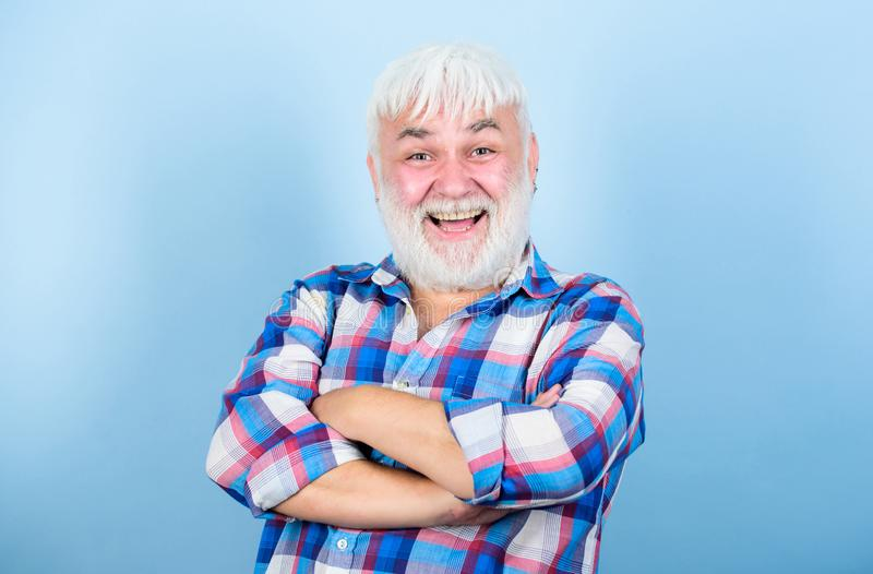 Cuts and Styles. barber and hairdresser. male fashion. health care. happy old granpa. mature bearded man in white wig. Hairloss concept. senior man with gray royalty free stock photography