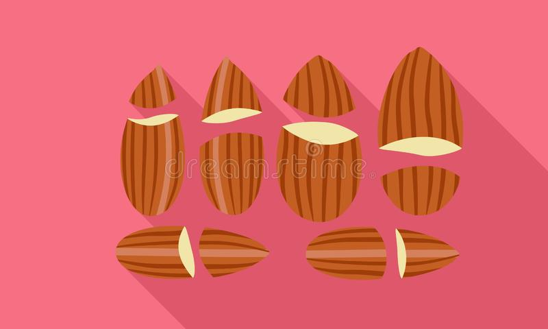 Cutted almond icon, flat style. Cutted almond icon. Flat illustration of cutted almond vector icon for web design vector illustration