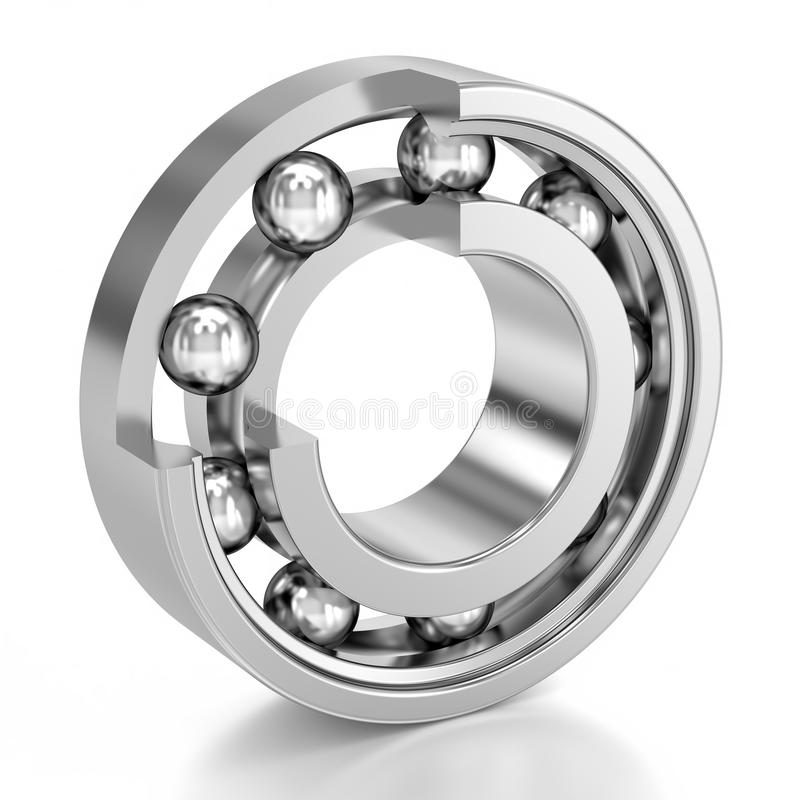 Cutted Ball Bearing over a white background royalty free illustration