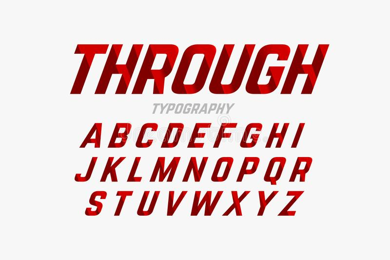 Cutted font. Cutted through font, alphabet and numbers vector illustration