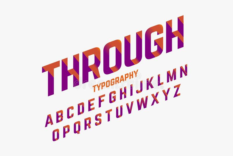 Cutted through font. In retro style, alphabet and numbers vector illustration