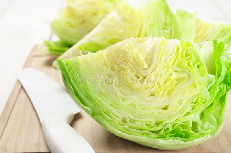 Cutted iceberg lettuce stock photo