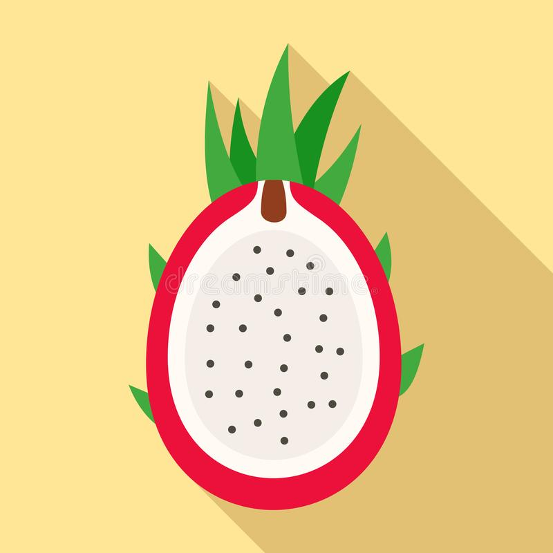 Cutted pitaya icon, flat style. Cutted pitaya icon. Flat illustration of cutted pitaya vector icon for web design royalty free illustration
