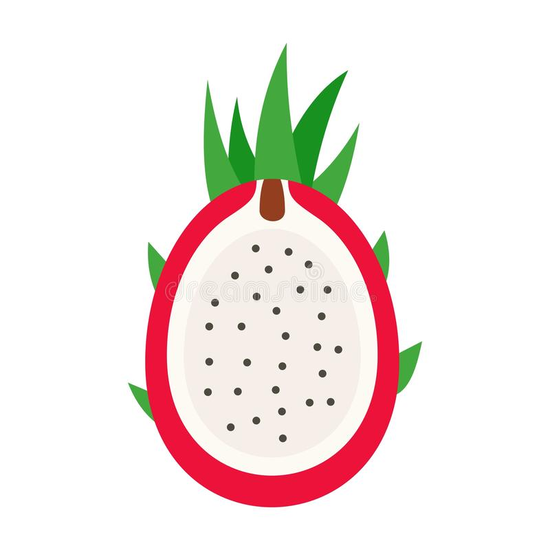 Cutted pitaya icon, flat style. Cutted pitaya icon. Flat illustration of cutted pitaya vector icon for web design stock illustration
