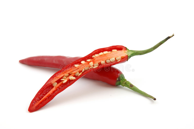 Cutted Red hot chili peppers royalty free stock photos