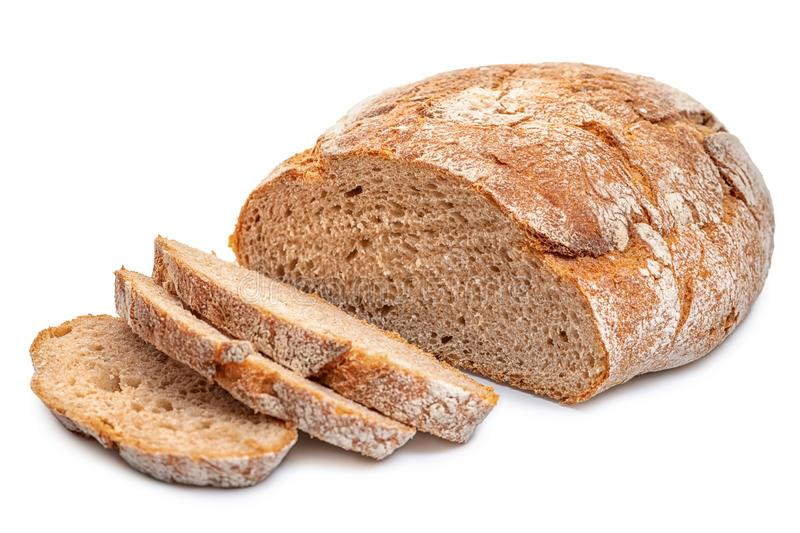 Cutted rye round bread isolated on white royalty free stock photos