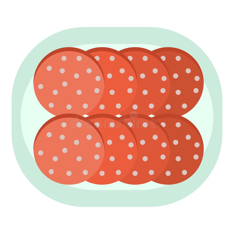 Cutted sausage icon, flat style. Cutted sausage icon. Flat illustration of cutted sausage vector icon for web design vector illustration