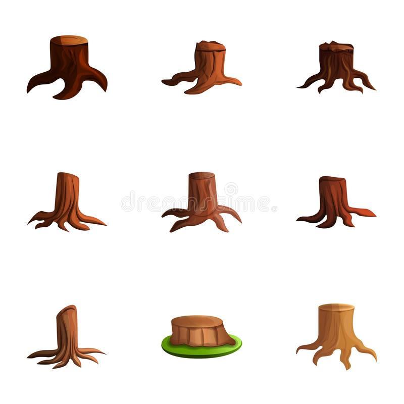 Cutted tree stump icon set, cartoon style. Cutted tree stump icon set. Cartoon set of 9 cutted tree stump vector icons for web design isolated on white vector illustration