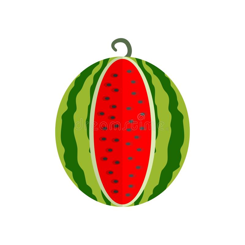 Cutted watermelon icon, flat style. Cutted watermelon icon. Flat illustration of cutted watermelon vector icon for web design royalty free illustration