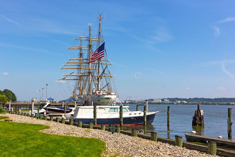 The Cutter Eagle tall ship visits Alexandria, VA. stock image