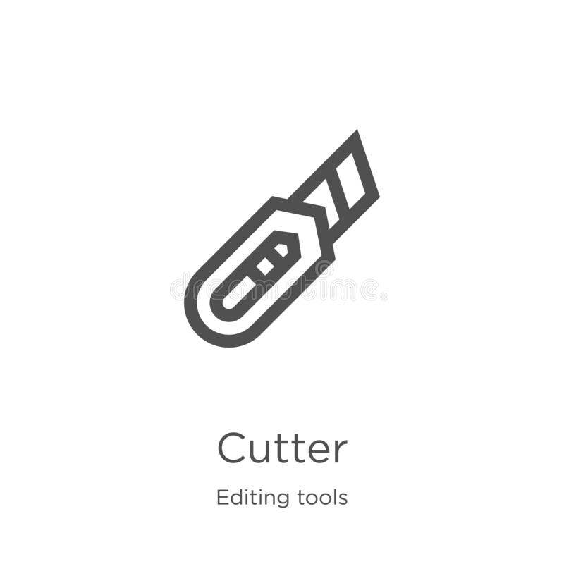 cutter icon vector from editing tools collection. Thin line cutter outline icon vector illustration. Outline, thin line cutter royalty free illustration