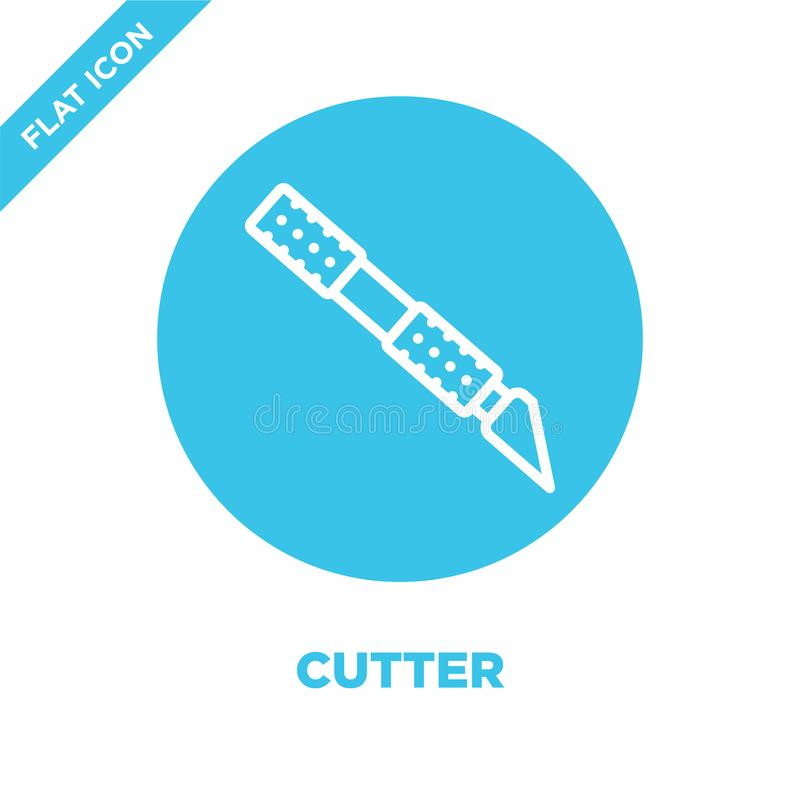 cutter icon vector from stationery collection. Thin line cutter outline icon vector  illustration. Linear symbol for use on web royalty free illustration
