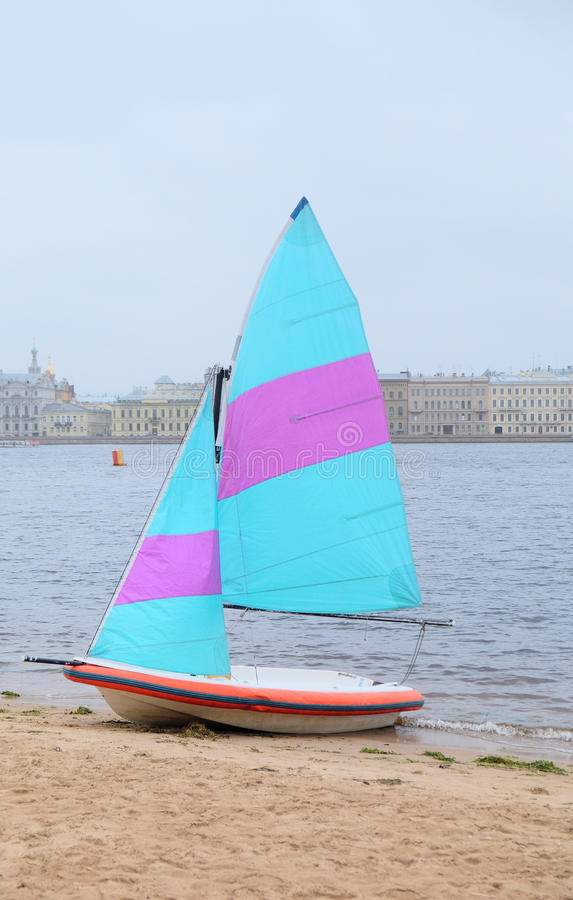 Cutter sailing ship. On the river Neva, St. Petersburg, Russia royalty free stock images