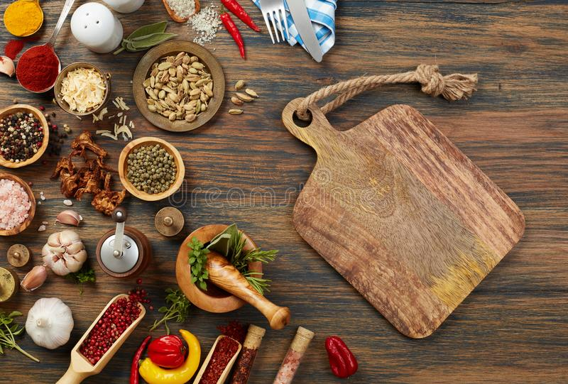 Cutting board and ingredients stock photography
