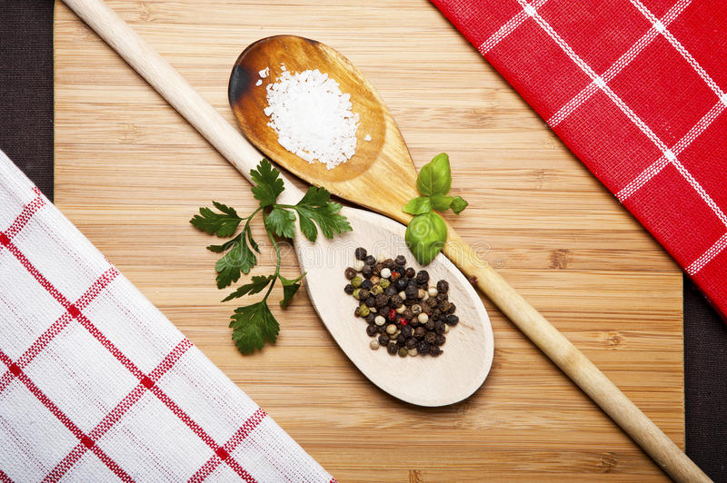 Cutting board with space for text on old wooden background,. Close-up, spoon stock photography