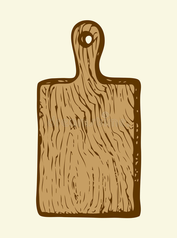Cutting board. Vector sketch. Solid oak beige durable cutting board on wall pantry. Monochrome freehand ink drawn backdrop sketchy in scrawl ancient style of pen royalty free illustration