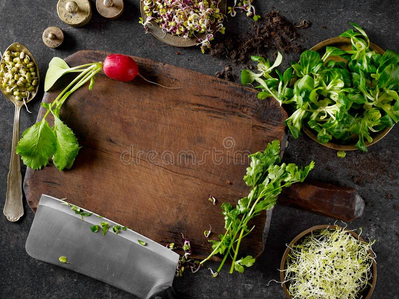 Cutting board and vegetables royalty free stock image