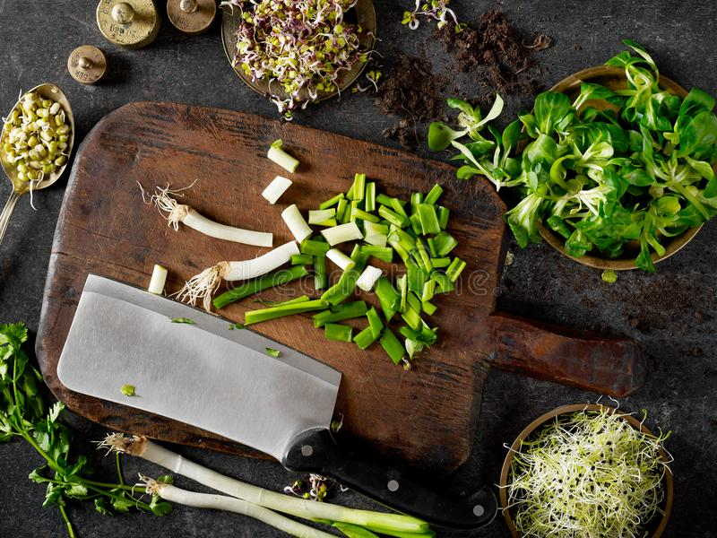 Cutting board and vegetables royalty free stock photography