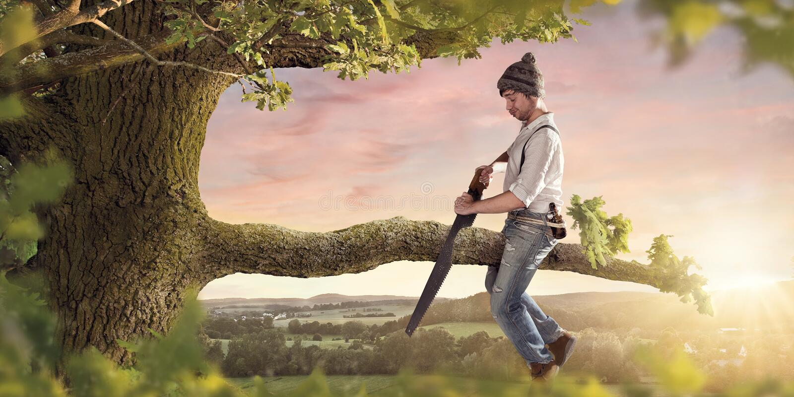 Download Cutting The Branch Your Sitting On Stock Photo - Image of saying, decision: 107873820