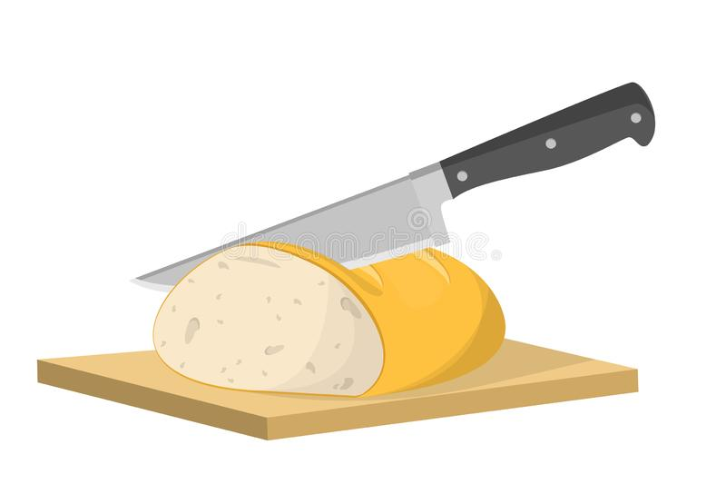 Cutting bread into slice with knife. Cooking toast vector illustration