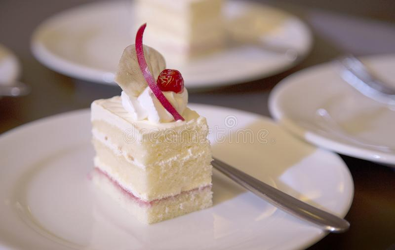 Cutting cake in banquet for serve in ceremony. stock image