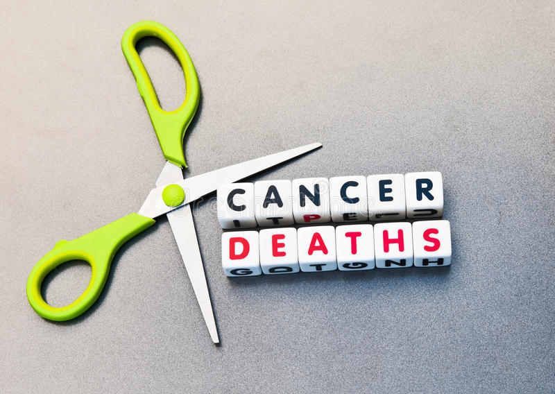 Cutting cancer deaths. Green handled scissors set against text ' cancer deaths ' inscribed on small white cubes in uppercase letters, gray background stock images