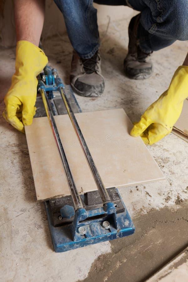 Cutting Ceramic Tiles Stock Image Image Of Gloves Cutting 99644011