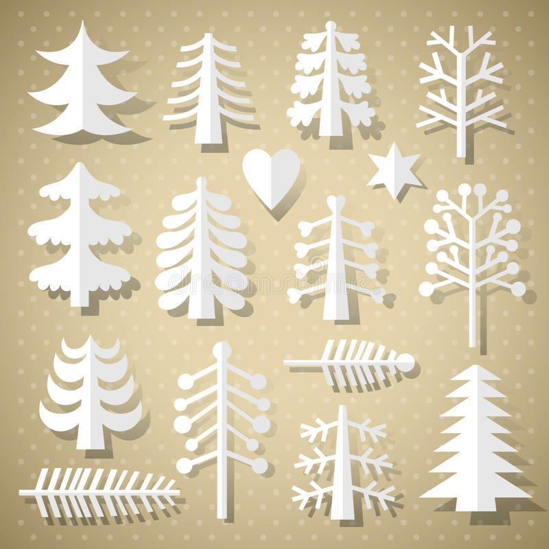 Cutting Christmas trees of white paper royalty free illustration