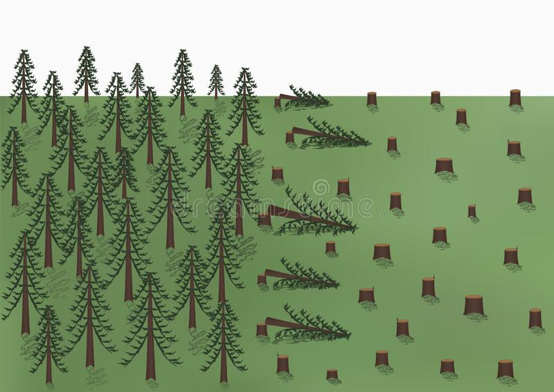 Cutting down of a pine forest landscape, big trees and a lot of stumps, vector horizontal. Cutting down of a pine forest landscape, big trees and a lot of stumps stock illustration