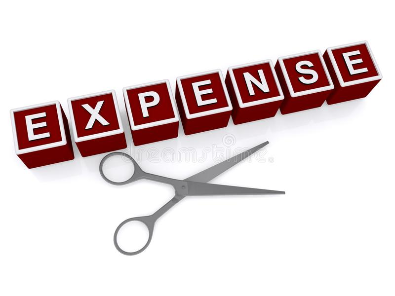 Cutting expense. Expense in white block letters on 3D red blocks with silver scissors on white vector illustration