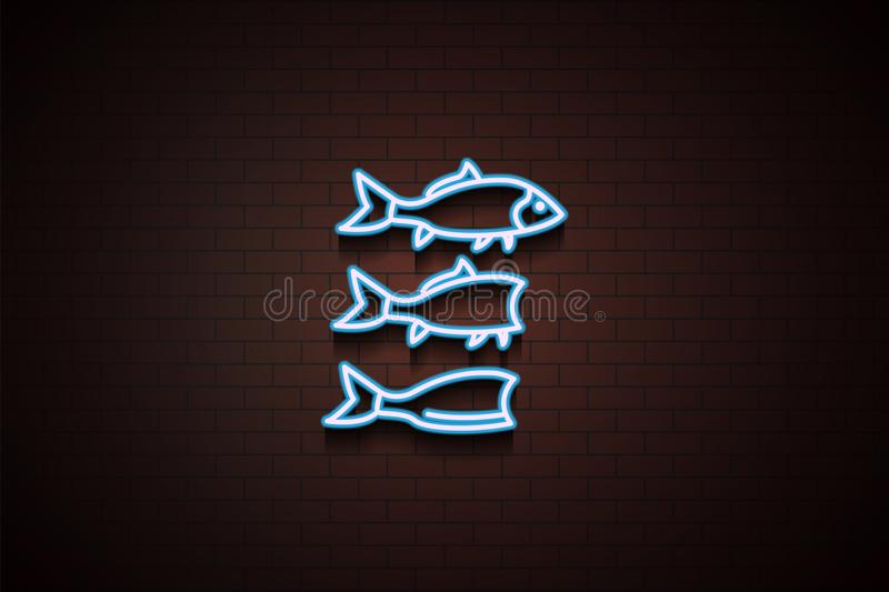 cutting fish icon in Neon royalty free illustration