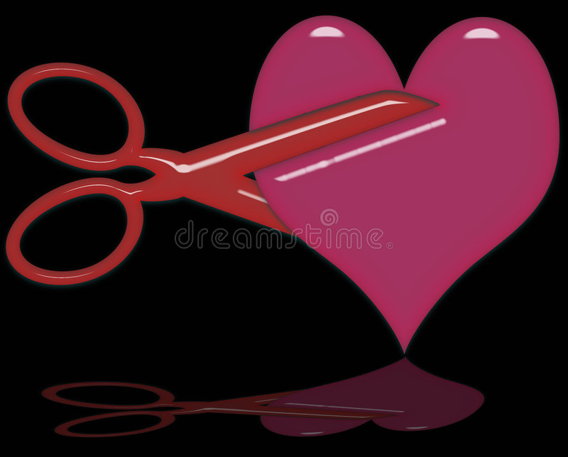 Cutting a Heart stock illustration